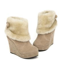 Casual Wedge Heel Women's Boots With Imitation Fur and Bowknot Design (APRICOT,38) China Wholesale - Sammydress.com