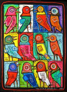 """Birds of Washington, DC"" by Washington, DC artist Matt Sesow.  on canvas.  new work available   at   http://new.sesow.com #sesow #birds #birdpainting #dcart #thedcarts #madeindc"
