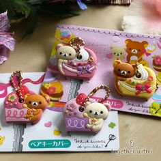 Super adorable Rilakkuma cupcake and macaroon key cap which you can also use as a cute key ring. They fit a regular round key.  They come in a set of two, either cupcake or macaroon versions.