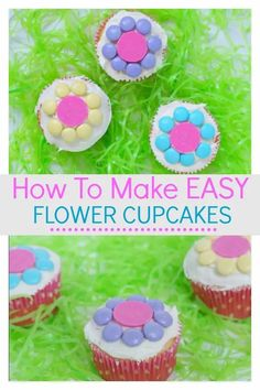 Learn how to make easy flower cupcakes that the kids will find simple and easy. They can be creative with their decorating skills to make some beautiful cupcakes. They would be special to make for Mother's day, or birthday's, or just to enjoy the start of Spring. Spring Cupcakes, Kid Cupcakes, Easter Cupcakes, Flower Cupcakes, Simple Cupcakes, Mocha Cupcakes, Gourmet Cupcakes, Strawberry Cupcakes, Velvet Cupcakes