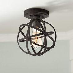 Industrial Atom Wide Edison Black LED Ceiling Light - Lamps Plus Industrial Ceiling Lights, Industrial Light Fixtures, Led Ceiling Lights, Rustic Industrial, Ceiling Fans, Ceiling Fixtures, Hallway Ceiling, Industrial Lamps, Chandeliers