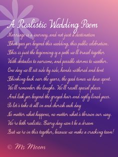 non cheesy wedding poem ~ realistic wedding poem by Ms Moem @msmoem