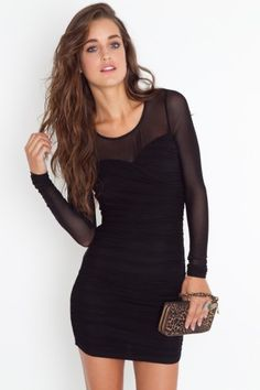 black dress- I would pair with some bright colored tights and black heels.