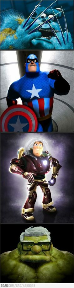 Pixar vs. Marvel.... i just pinned this because of the up man/hulk