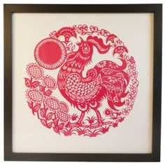 Framed Handmade Red Chinese Paper Cut / Paper Cutting of Crowing Rooster Amidst Sunflowers Chinese Zodiac Rooster, Berg Tattoo, Paper Art, Paper Crafts, Cut Paper, Chinese Paper Cutting, Asian Cards, Chinese Artwork, Rooster Art