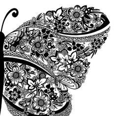 The Butterfly - 7 x 5 digitale afdruk van een pen en inkttekening /// geïnspireerd door neopoprealism ///