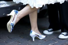 Wedding Shoes Bridal Pansies navy blue and ivory.