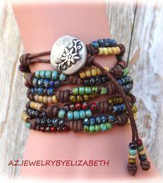 MULTI COLOR-  Seed Bead Wrap Bracelet, Seed Bead Leather Wrap Bracelet, Seed Bead Bracelet, Beaded Leather Wrap. by AZJEWELRYBYELIZABETH on Etsy https://www.etsy.com/ca/listing/463194946/multi-color-seed-bead-wrap-bracelet-seed