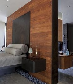 Image 7 Of 15 From Gallery Of Smart Open Concept Bathroom: Ideas For  Balancing Privacy With Openness. Integrated Master Bed And Night Stand  Float Off A ...