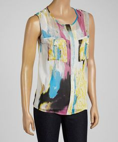 Look what I found on #zulily! Yellow & Cream Watercolor Pocket Sleeveless Top #zulilyfinds