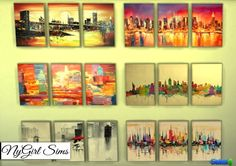 NY Girl Sims: Cityscapes 3 Piece Canvas Art • Sims 4 Downloads
