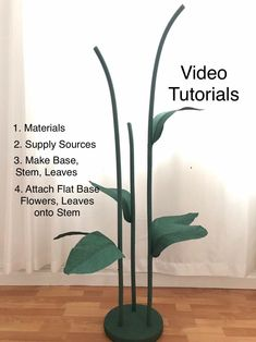 Self Standing Giant Flower Stems Set Tutorial, Large Flower Stems DIY for Free Standing Flowers, Giant Flower Stand Tutorial, Big Stems by MaiPaperFlowers on Etsy Paper Mache Flowers, Large Paper Flowers, Crepe Paper Flowers, Giant Paper Flowers, Paper Roses, Large Flowers, Rose Tutorial, Paper Flower Tutorial, Flower Petal Template