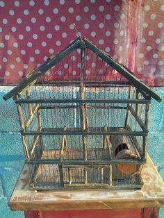 Vintage Wood Cage Green  Mansion  Nice for you Bird  New Home Mexico Hand Made