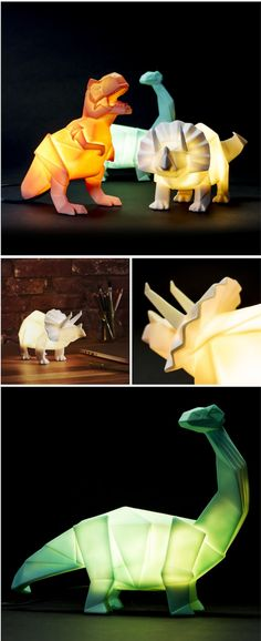 Origami-Style LED Lamps Come in Ferocious Dinosaur Shapes