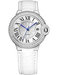 BINGER Womens Date Dress Watch Roman Numerals Diamond Stainless Steel And Leather Strap White 18L-1A by Binger $15.99$85.99Prime