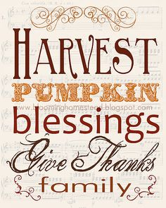 Fall Harvest Printable and tons of Thanksgiving recipes, printables, decor and crafts