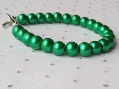 Green Pearl Bracelet Bridesmaid Jewelry by CherishedJewelryCo, $14.00