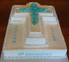 Twins' First Communion Cake by hjshewmaker, via Flicker Confirmation Cakes, Baptism Cakes, Baptism Ideas, Boy Baptism, Funeral Cake, Pastel Mickey, Communion Centerpieces, First Holy Communion Cake, Cross Cakes