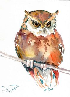 Giclee Print: Owl 4 by Suren Nersisyan : Owl Watercolor, Watercolor Animals, Watercolor Paintings, Watercolours, Owl Art, Bird Art, Bird Drawings, Animal Paintings, Painting & Drawing