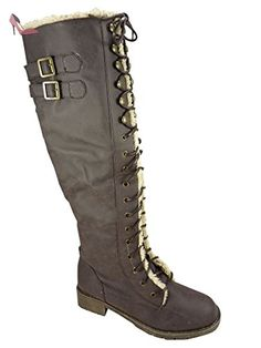 05f5009c4211a Bottes femme à lacets fourrées Marron 37  Amazon.fr  Chaussures et Sacs