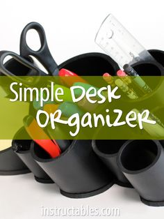 Transform a couple plastic pipes from the hardware store into a handy desk organizer. Choose the quantity and diameter of pipes to suit your individual needs!