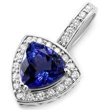 3.21ct Tanzanite & Diamond Pendant Halo Necklace 14k Gold
