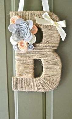 SALE: 10% off Twine Monogram Wreaths w/ coupon code MONOGRAM10. Personalized Twine Monogrammed Wreath w/ felt flowers and a ribbon to hang.