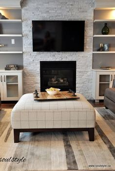 Fireplace + bookshelves