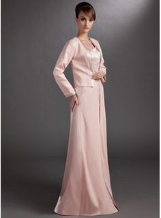 A-Line/Princess Sweetheart Floor-Length Charmeuse Mother of the Bride Dress With Beading (008006265) - JJsHouse