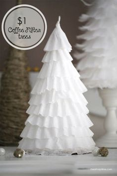 DIY Christmas Centerpieces - DIY $1 Coffee Filter Trees Centerpiece - Simple, Easy Holiday Decorating Ideas on A Budget - Cheap Home and Table Decor for The Holidays - Dollar Store Crafts, Rustic Candles, Pine Cones, Floral Ideas and Mason Jar Craft Projects http://diyjoy.com/diy-christmas-centerpieces