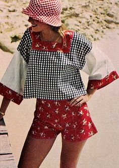Def had this ensemble. Looks like it's from a pattern. Smock top, square neckline. Awkward shorts.