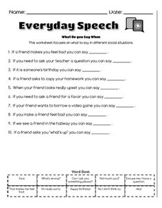 Work on the social skills of having conversations, asking questions, and staying on topic with these fun, no prep, print & go activities! Can be used with a wide range of ages and abilities!Includes 5 worksheets:Topics of Conversation- Student selects 3 different people from their life and thinks of appropriate topics of convo for each!Asking Questions- Given a topic student must think of 2 questions to ask about each topic.Staying on Topic- Students match comments to work on staying on t...