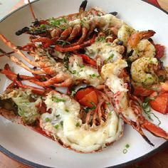 Halved Lobster with simple herbs and garlic butter. July 4th BBQ done right @biancaatdelano #july4 #recipes