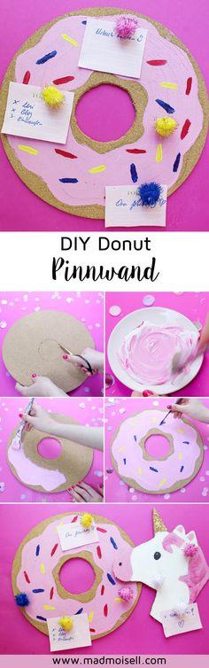 DIY Pinnwand selber machen: Donut  & Einhorn  Style! Diese coolen Pinnwände verzaubern euren Schreibtisch im Nu und sind schnell selbst gebastelt. Perfekt, für coole DIY Zimmer Deko im Tumblr oder Pin (Diy Manualidades)