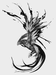 dessin tatouage phénix / phoenix légendaire