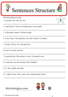 Sentence Structure 1 - English ESL Worksheets for distance learning and physical classrooms Simple Sentences Worksheet, Grammar Sentences, Complex Sentences, English Sentences, Grammar Wall, English Worksheets For Kids, Writing Worksheets, Printable Worksheets, Grammar Activities
