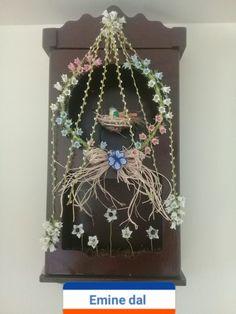 Eski saati kuş yuvası yaptık çiçekleri iğne oyasi