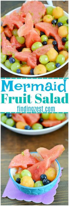 party girls : On the hunt for ocean or mermaid party ideas? This Under the Sea Mermaid Honey Lime Fruit Salad is a healthy birthday party food with watermelon cutouts! This kid friendly snack also works well for any brunch, summer cookout or pool party! Kinder Party Snacks, Birthday Party Snacks, Birthday Brunch, Fruit Party, Snacks Für Party, Fruit Birthday, Birthday Kids, Birthday Crafts, Party Party