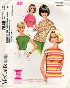 McCalls 7640. Slash neck and horizontal stripes.