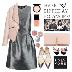 """""""Happy Birthday Poly!!! Yay 9 years!!!!"""" by karineminzonwilson ❤ liked on Polyvore featuring Jimmy Choo, Iris & Ink, Yves Saint Laurent, Zizzi, MAC Cosmetics, Witchery, women's clothing, women, female and woman"""