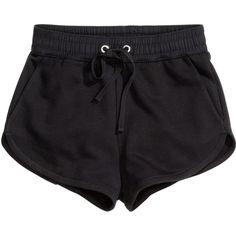 H&M Sweatshirt shorts (320 UYU) ❤ liked on Polyvore featuring shorts, bottoms, pants, short, black, hot pants, hot cotton pants, cotton shorts, short hot pants and micro short shorts