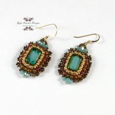 Emeraude Earrings Bead Embroidery Green by KateTractonDesigns