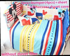 42.80$  Buy here - http://alicnq.worldwells.pw/go.php?t=32401515170 - Promotion! 6/7PCS Mickey Mouse baby crib bedding set ,Duvet Cover,cotton material jogo de cama crib bumper,120*60/120*70cm 42.80$