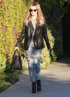 Ashley Tisdale Ripped Jeans Rock Jacket - http://oceanup.com/2014/10/22/ashley-tisdale-ripped-jeans-rock-jacket/