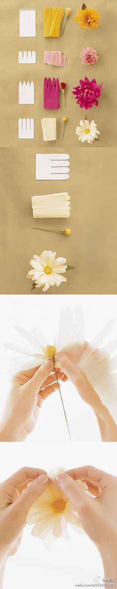 How to Make Crepe-Paper Flowers, DIY and Crafts, How to make these different kinds of flowers~ Paper~. How To Make Paper Flowers, Crepe Paper Flowers, Fabric Flowers, Tissue Flowers, Flower Paper, Paper Roses, Making Tissue Paper Flowers, Paper Peonies, Ribbon Flower