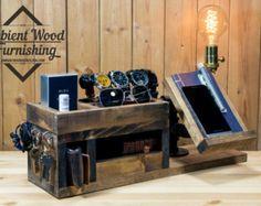Cargador de muelle de reloj madera cabecera por AmbientWood en Etsy