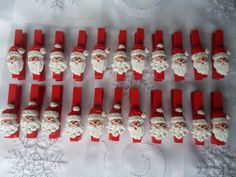Christmas decorations - Father Christmas pegs.