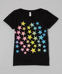 Love this Black Rainbow Star Tee - Girls by Cutie Patootie on #zulily! #zulilyfinds