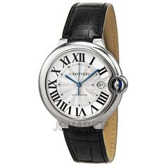 Cartier Ballon Bleu Automatic Silver Dial Stainless Steel Black Leather Mens Watch W69016Z4