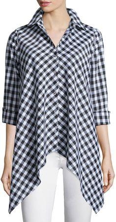 Go Silk Drama Gingham Handkerchief Shirt, Plus Size Fashion Sewing, Muslim Fashion, Vintage Denim, Drama, Blouse Designs, Plus Size Outfits, Plus Size Fashion, Clothes For Women, Womens Fashion